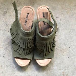 Minnetonka olive green fringe sandal - wedge heel